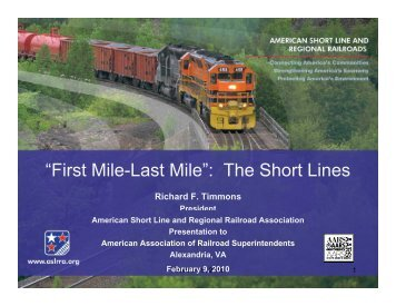 American Association of RR Superintendents - Feb. 9, 2010.ppt