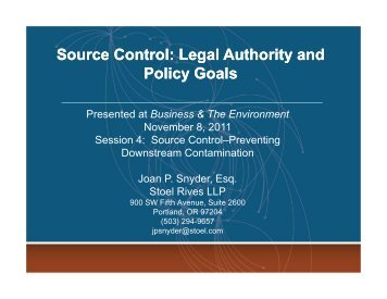 Legal Authority and Policy Goals - Stoel Rives LLP