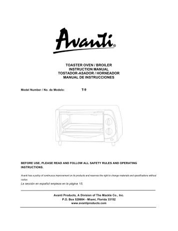 toaster oven / broiler instruction manual tostador ... - Avanti Products