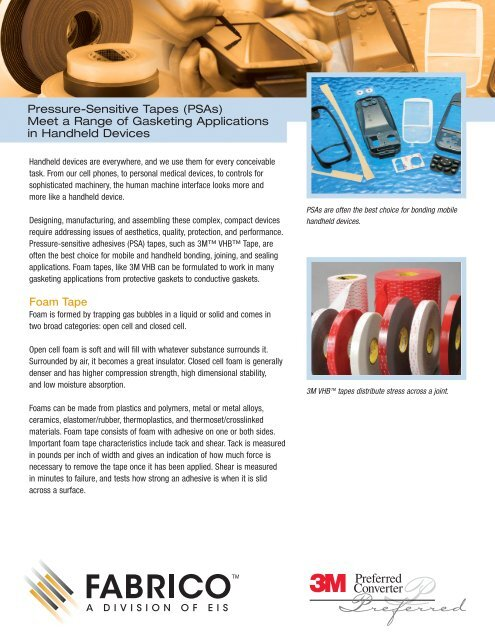 Pressure-Sensitive Tapes (PSAs) Meet a Range of     - Fabrico