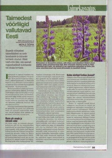 Taimedest võõrliigid vallutavad Eesti