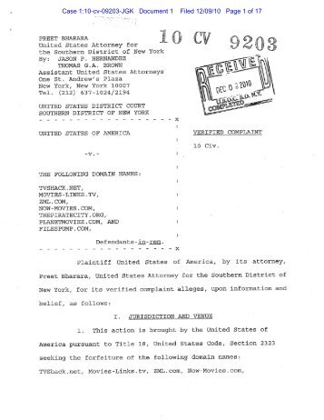 Case 1:10-cv-09203-Jgk Document 1 Filed 12/09/10 Page 1 of 17