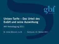 Unisex-Tarife Das Urteil Des EuGH Und Seine Auswirkung - gbf Legal