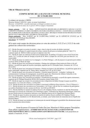 Séance du 12 mars 2010 - Villeneuve sur Lot