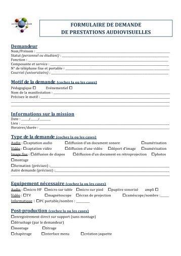 Formulaire de demande de prestations audiovisuelles - IUFM