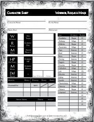 Character, Spell, Equipment and Variant sheets - Stargazer Games