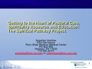 The Spiritual Pathway Project. - ACPE Research Network