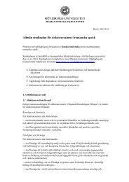 Allmän studieplan för doktorsexamen i romanska språk