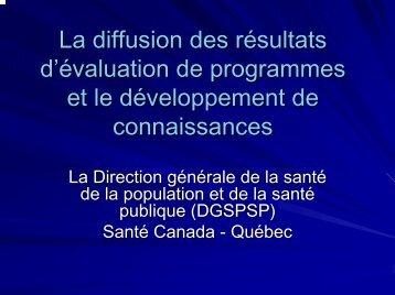 La diffusion des résultats d'évaluation de programmes et le ...