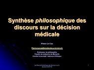 Synthèse philosophique des discours sur la décision