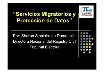 Sharon Sinclaire. Directora Nacional del Registro Civil. Tribunal ...