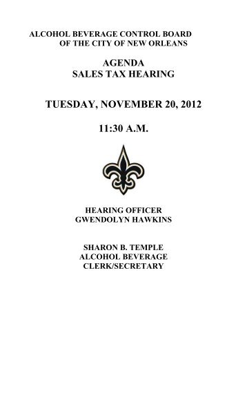 tuesday, november 20, 2012 11:30 am - New Orleans City Council