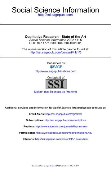 Qualitative Research - State of the Art - Sage - Sage Publications