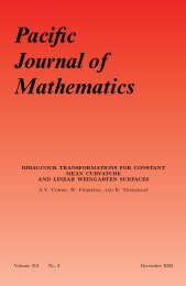 Pacific Journal of Mathematics - MSP