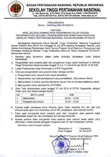 Pengumuman Hasil Seleksi Administrasi PCT DI PPK STPN-2014