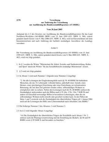 2170 Verordnung zur Änderung der Verordnung zur Ausführung des ...