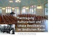 Fachtagung Kulturarbeit und lokale Bevölkerung im ländlichen Raum