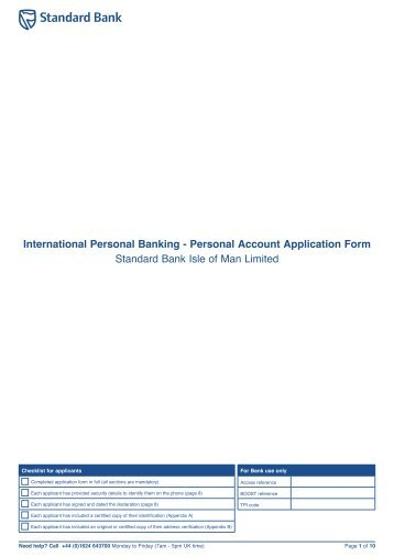 Offshore Personal Account Application Form - Standard Bank Offshore