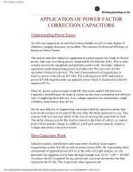 Application of Power Factor Correction Capacitors - Teknatool