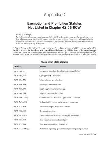 MRSC Exemption List - Douglas County