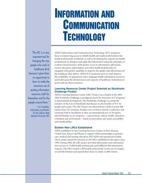 Annual Program Report 2004 - American International Health Alliance