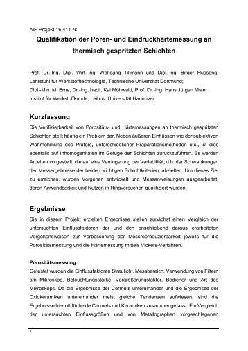 Qualifikation der Bestimmung der Eindruckhärte und des ...
