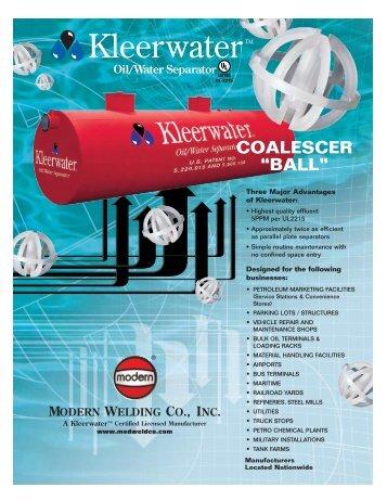 Kleerwater Oil Water Separator - Modern Welding Company