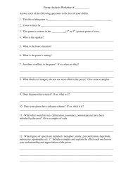 Poetry Analysis Worksheet # JJJJJJJJJJJ Answer each of the ...