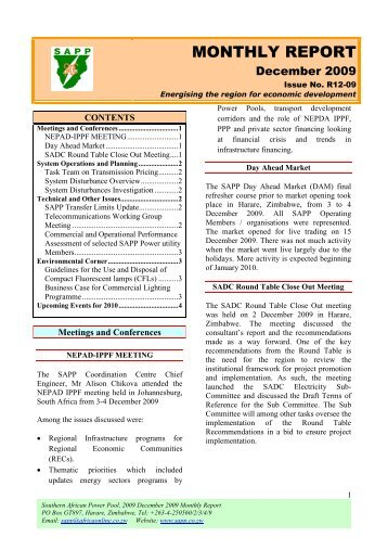Sapp sustainability bulletin southern african power pool monthly report southern african power pool sciox Images