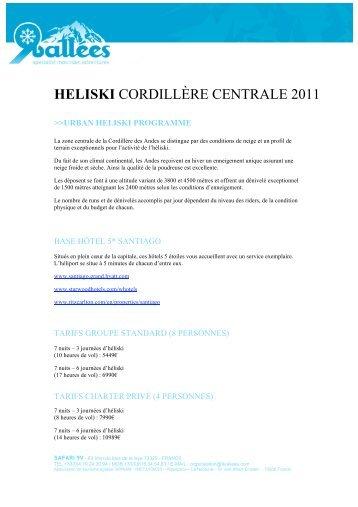 HELISKI CORDILLÈRE CENTRALE 2011 - Ski Safari 9 vallées