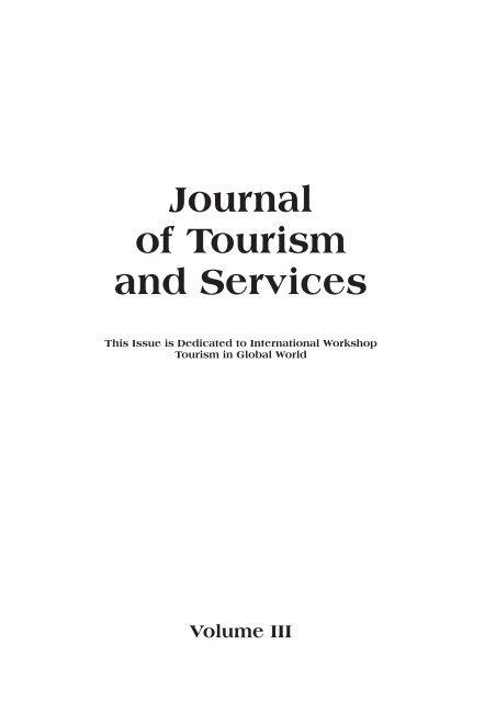 Journal of Tourism and Services - Vysoká škola obchodní v Praze
