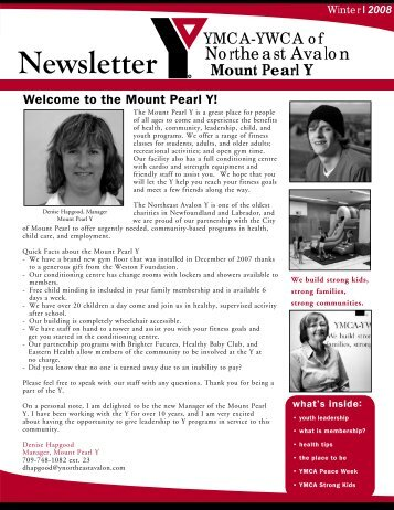 Newsletter - the YMCA of Northeast Avalon