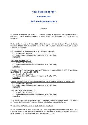 Cour d'assises de Paris 8 octobre 1992 Arrêt rendu ... - Cap-office.net
