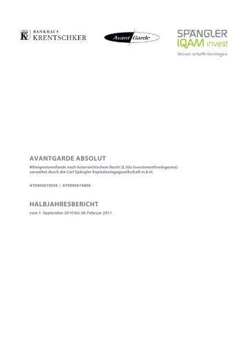 avantgarde absolut halbjahresbericht - Bankhaus Krentschker & Co ...