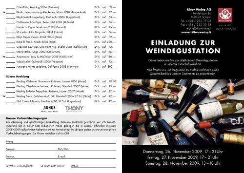 EinlAdunG zuR WEindEGuSTATiOn - Ritter Weine AG