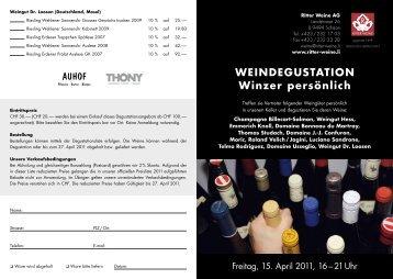 WEINDEGUSTATION Winzer persönlich - Ritter Weine AG