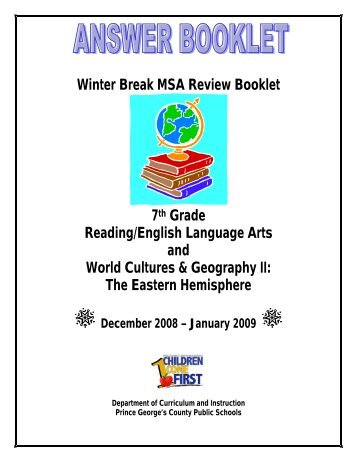 Winter Break MSA Review Booklet 7th Grade Reading/English ...