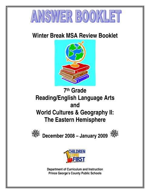 Winter Break MSA Review Booklet 7th Grade Reading English