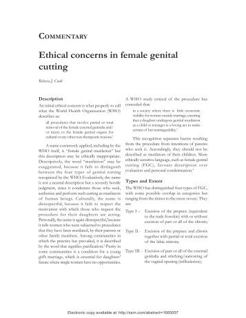 COMMENTARY Ethical concerns in female genital cutting