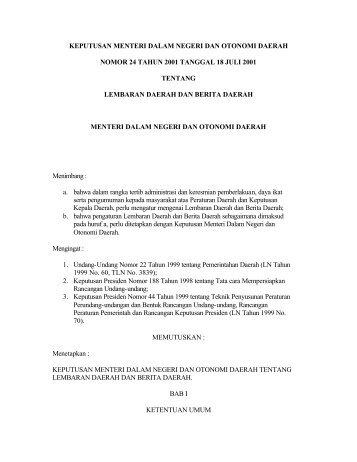 keputusan menteri dalam negeri dan otonomi daerah nomor 24 ...