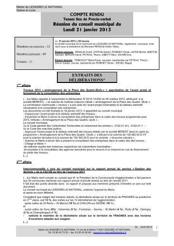 Rapport du Conseil municipal du 21 janvier 2013 - Lessard-le ...