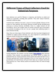 Different Types of Dust Collectors Used for Industrial Purposes