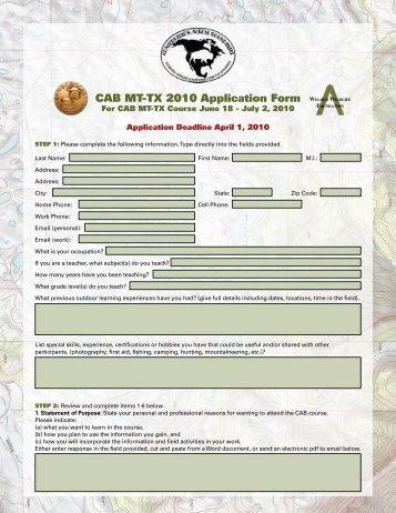 CAB MT-TX 2010 Application Form - Boone and Crockett Club