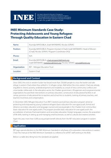INEE Minimum Standards Case Study: Protecting Adolescents and ...