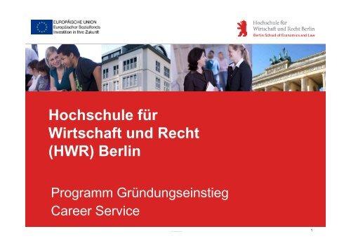 HWR Berlin Präsentation Tagung HS Harz June ... - FH Durchstarter