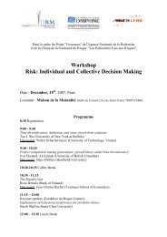 Workshop Risk: Individual and Collective Decision Making - CEREG ...