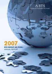 BTS Group AB (puBl) ANNUAL REPORT