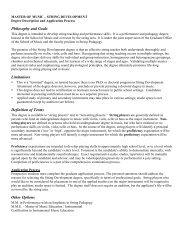 STRING DEVELOPMENT Degree Description And - School of Music
