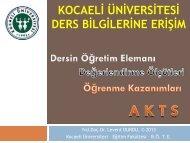 ders bilgilerine erişim - Eğitim Fakültesi - Kocaeli Üniversitesi