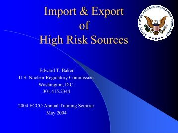 Import & Export of High Risk Sources
